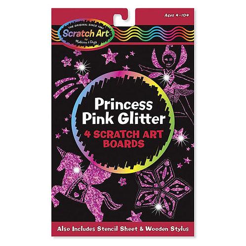 PRINCESA RASPA Y DESCUBRE LIBRO DE ARTE-PRINCESS PINK GLITTER 4 SCRATCH ART BOAR