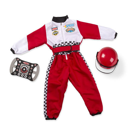 DISFRAZ PILOTO CARRO DE CARRERAS-RACE CAR DRIVER-MELISSA AND DOUG