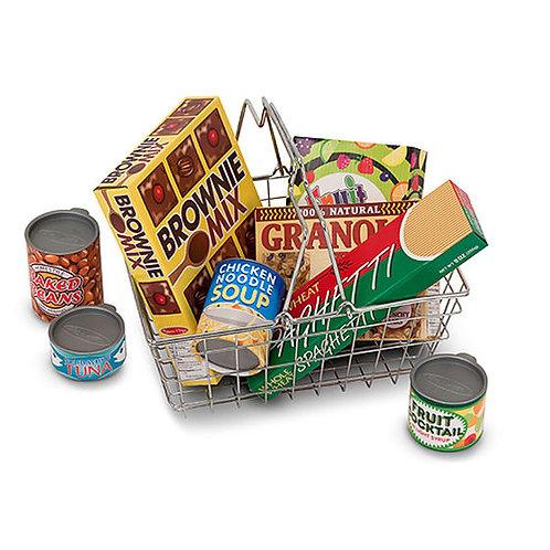CANASTA DEL SUPER CON COMIDA DE JUGUETE-GROCERY BASKET WITH PLAY FOOD-MELISSA AN