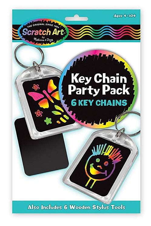 PAQUETE FIESTA LLAVEROS-KEY CHAIN SCRATCH ART PARTY PACK-M & D