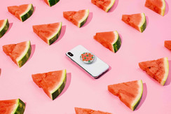 Iphone with Watermelon Popsockets