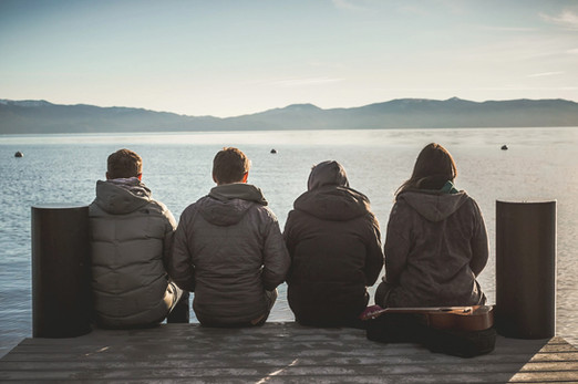 friends on a dock