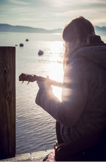 guitar on a dock