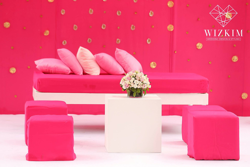 Gold Motif on the Hot pink backdrop with shade of pink cushion