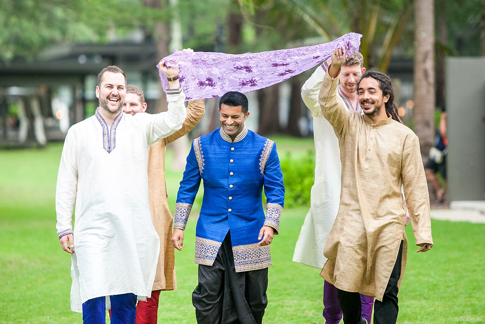 Tushar & Friends walking to the Mandap with Smile