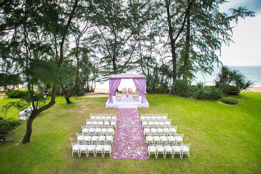 The Blue Ocean View as a Destination Wedding in Thailand for the Ceremony by the beach side
