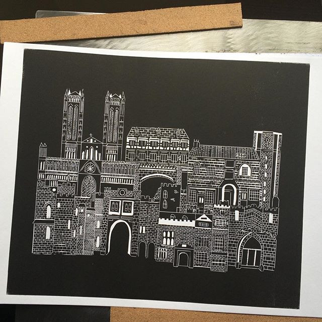 Lincoln lino print commission complete