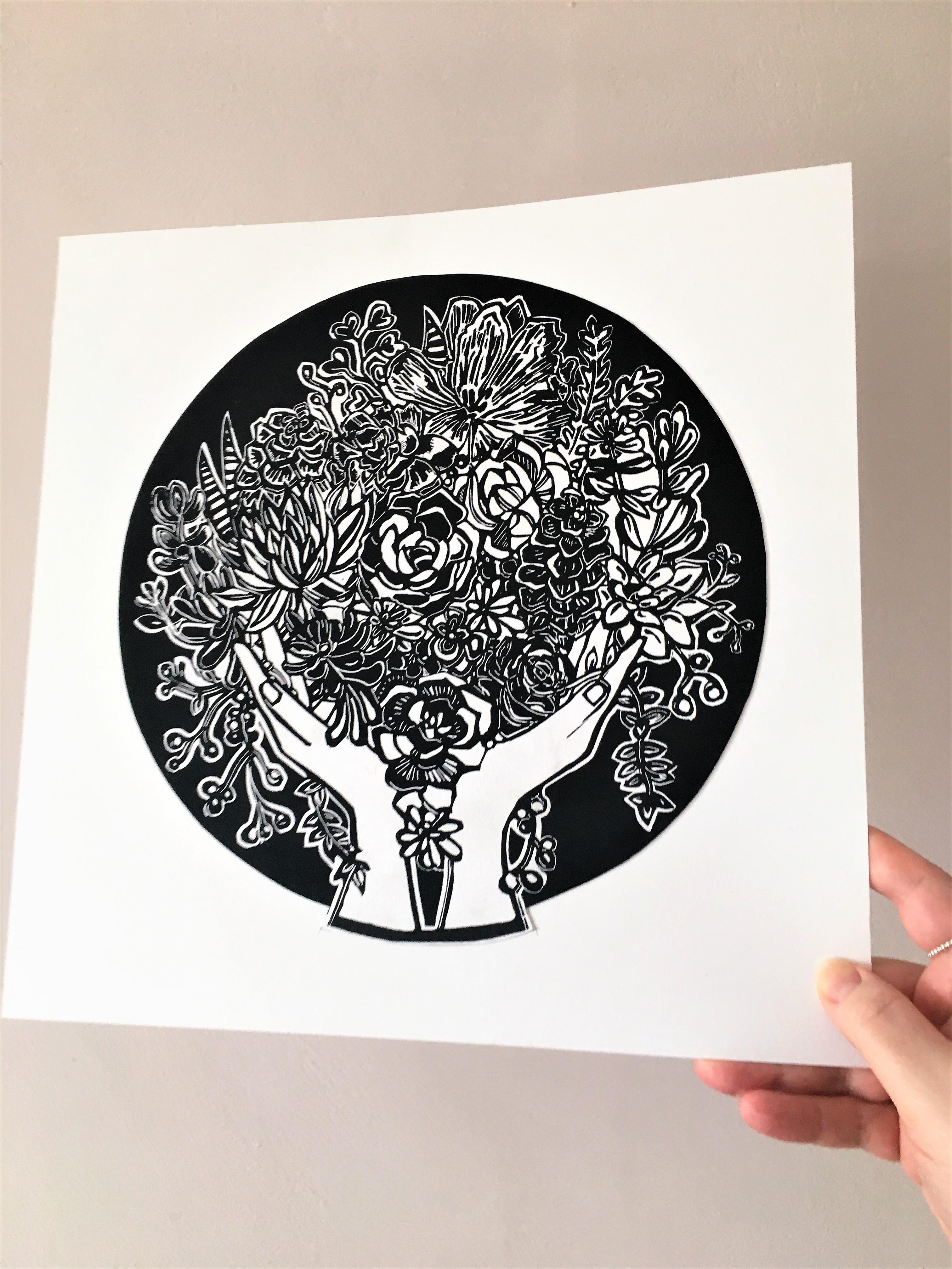 abundance lino print