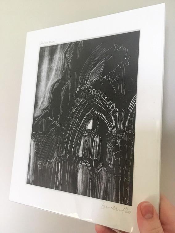 Whitby abbey, monoprint