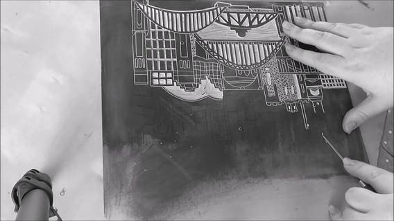 Newcastle Gateshead lino print