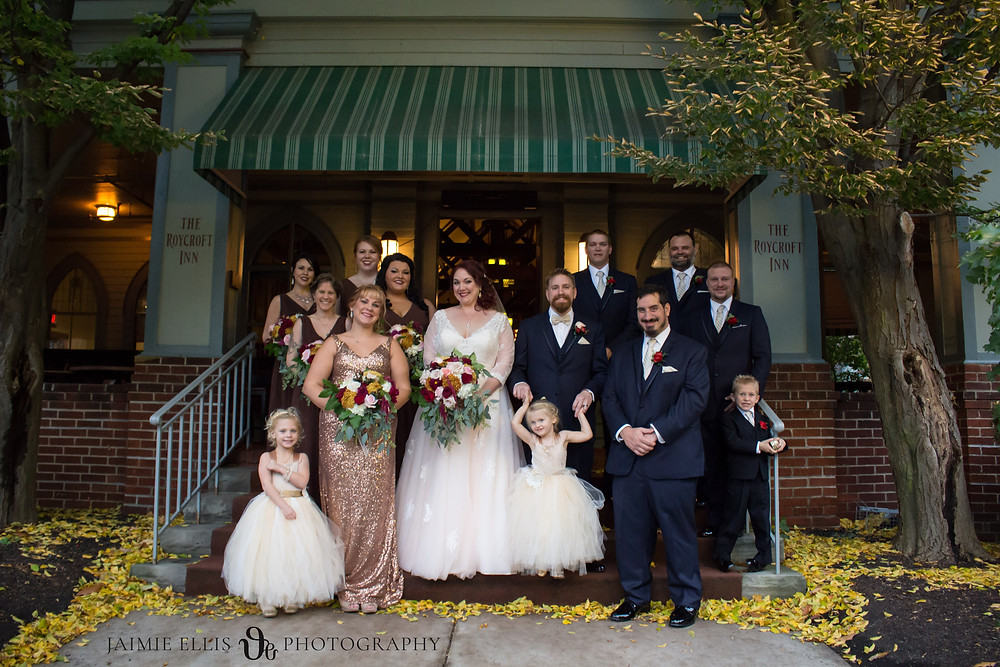 Wedding party portrait at Roycroft Inn in East Aurora NY