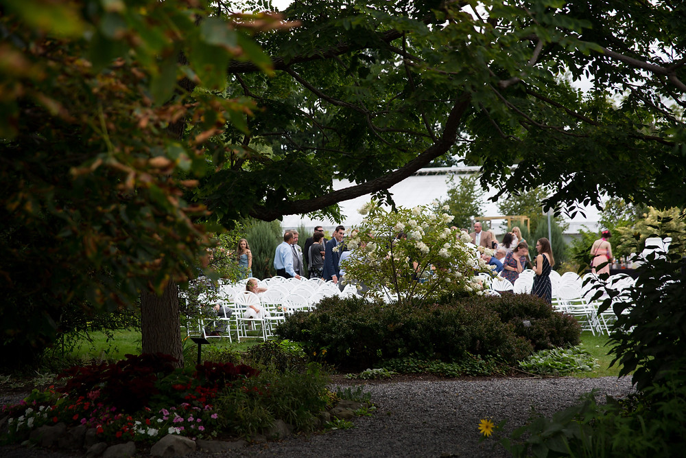 wedding cocktail hour outside at Buffalo Botanical Gardens