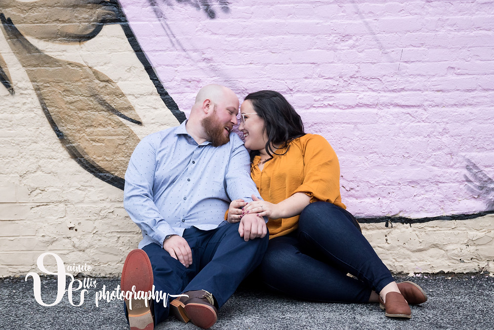 downtown Buffalo engagement photos sinclair wildflower mural