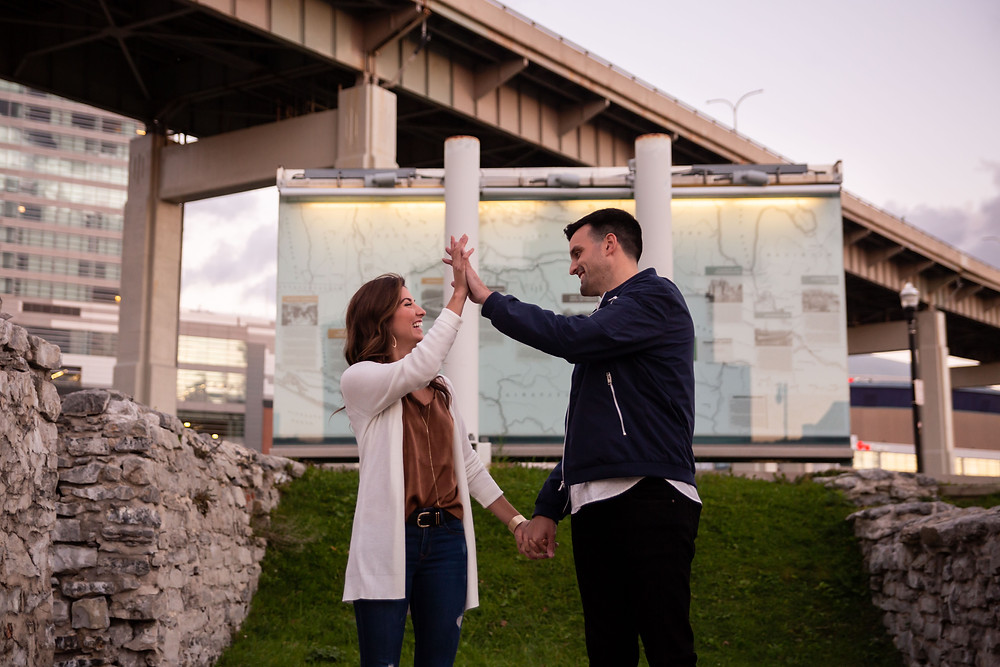 couples engagement photo at canalside buffalo ny