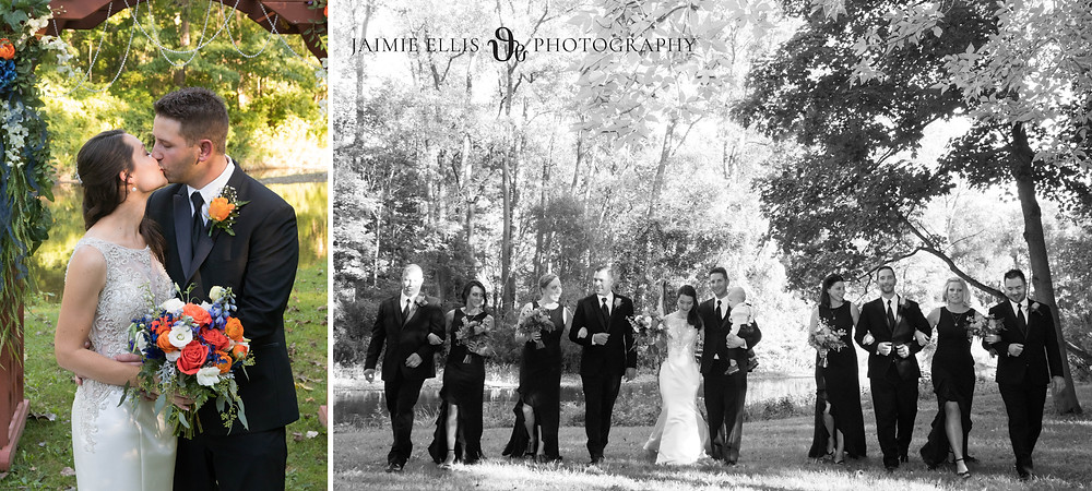 bride and groom photos with wedding party at O'Brien's Sleepy Hollow in East Aurora NY