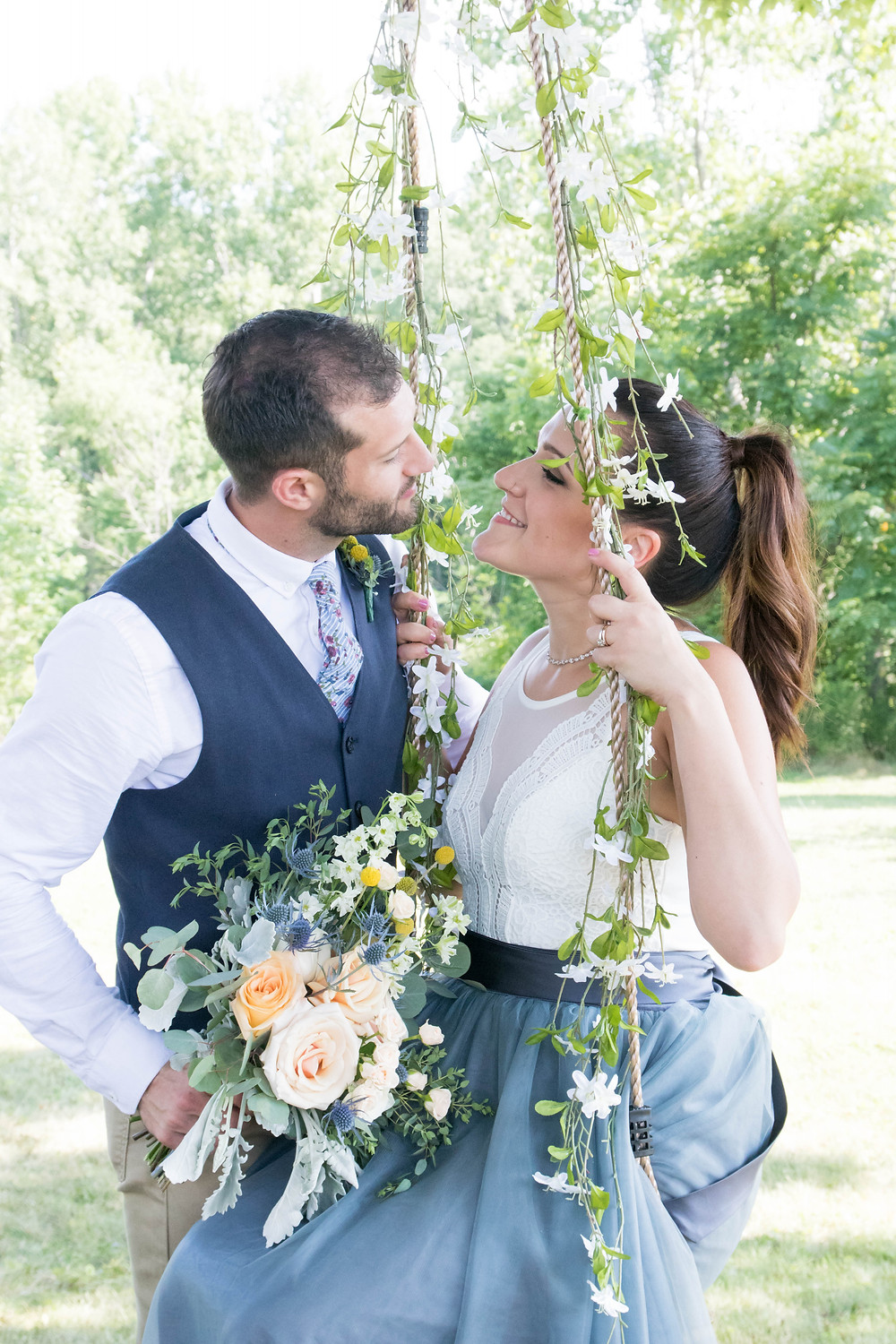 backyard wedding orchard park flower swing bride groom portrait photography