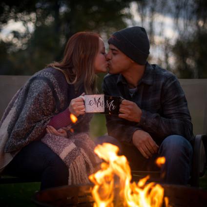 Cassie + Jordan's gorgeous fall engagement photos | Chestnut Ridge park + backyard campfire session