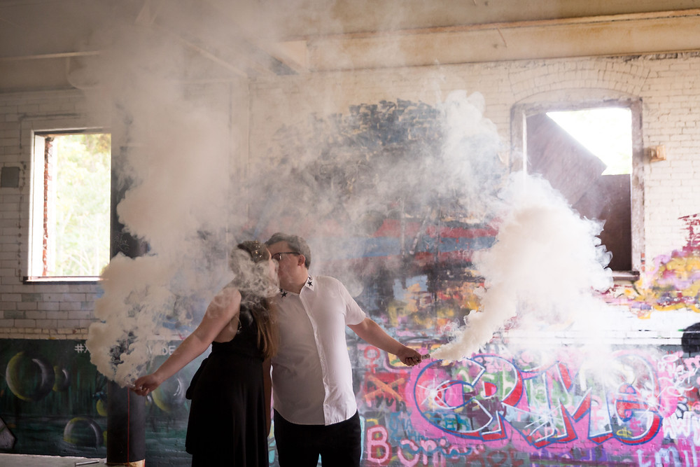 smoke bombs inside Silo City Buffalo