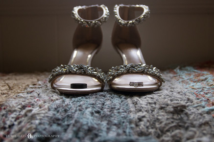 bride's shoes in childhood home bridal detail photo