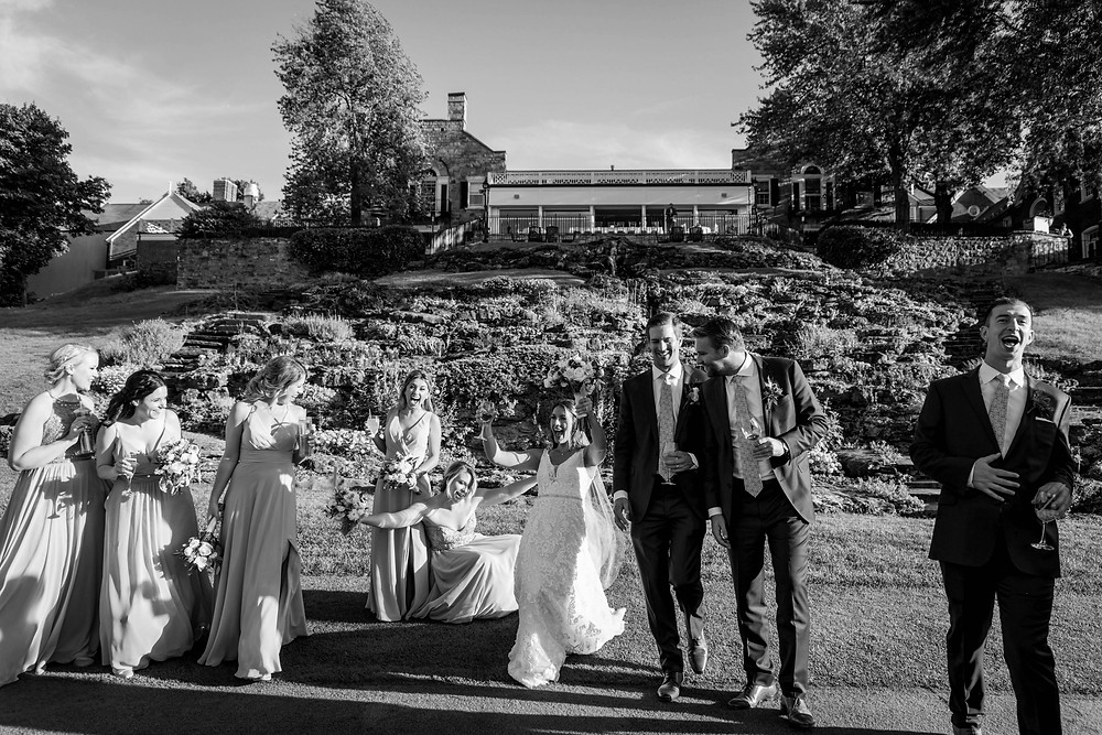 country club of Buffalo september fall summer wedding bridal party 18th hole