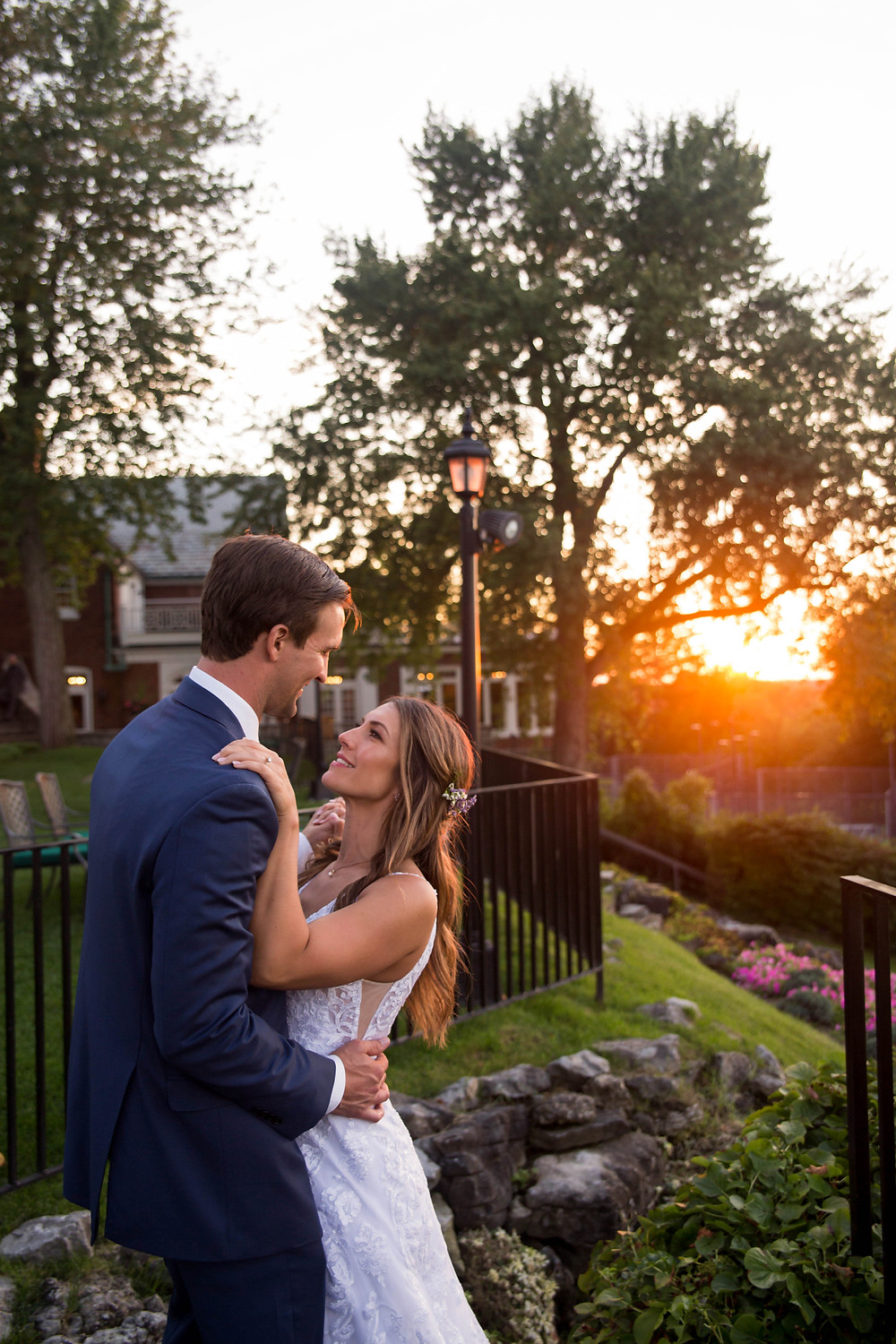 country club of Buffalo september fall summer wedding bride and groom terrace at sunset golden hour