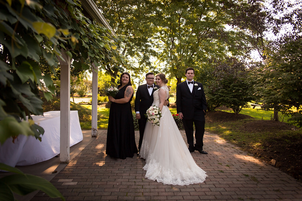 bridal party Becker Farms Vizcarra Vineyards Gasport NY summer wedding elopement