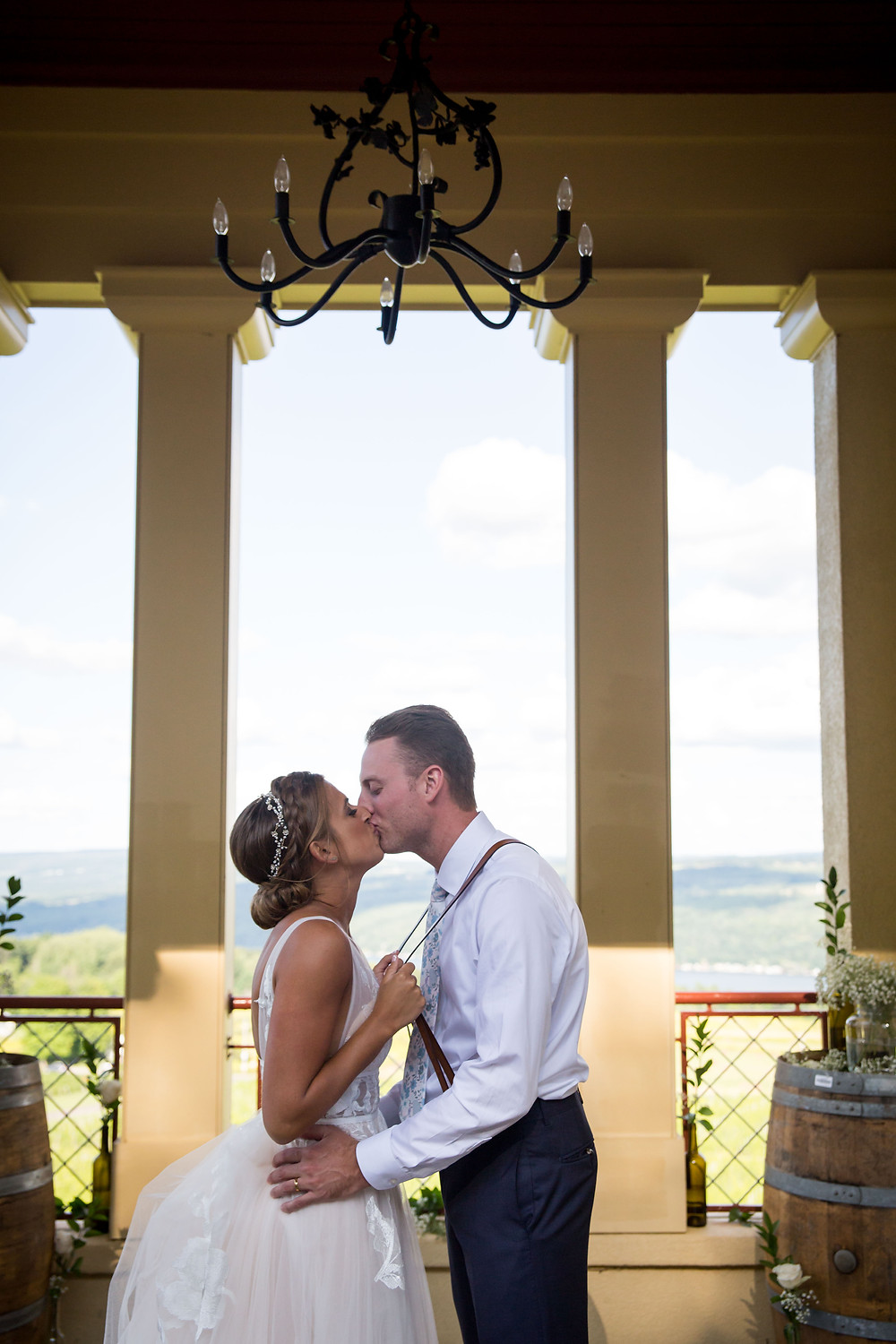 bride and groom in observation tower at Heron Hill Winery Keuka Lake Finger Lakes