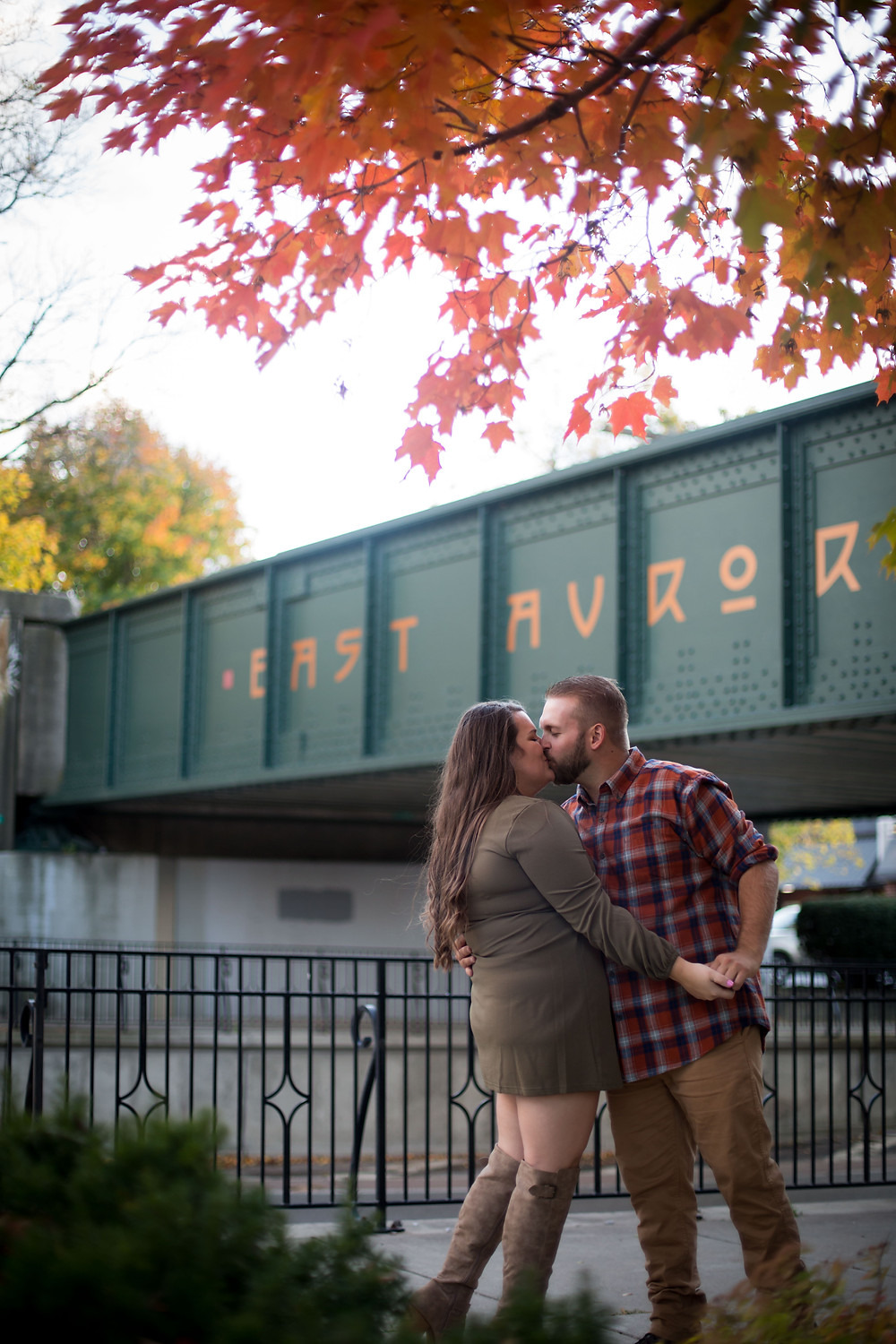 best fall foliage east aurora ny bridge engagement photo