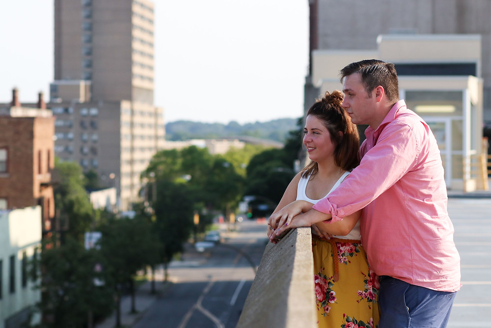 downtown Rochester Engagement rooftop photo
