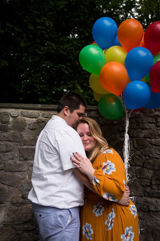 disney Up themed engagement couple photo shoot Sunken Garden Rochester NY