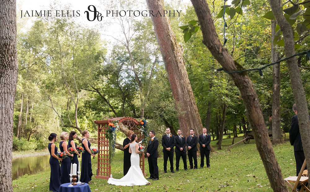 O'Brien's Sleepy Hollow Wedding Ceremony outside by the creek in East Aurora NY