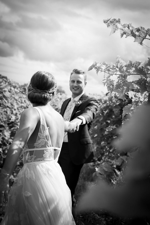 bride and groom in vineyard at Heron Hill Winery Wedding Venue Keuka Lake Finger Lakes