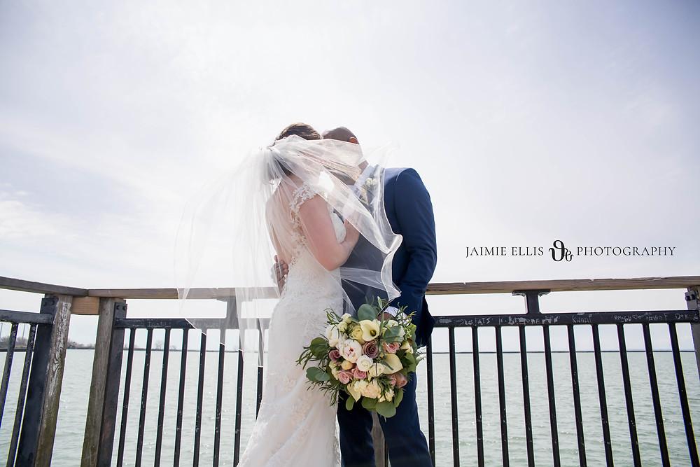 bride and groom photo Gallagher Pier Buffalo NY wedding