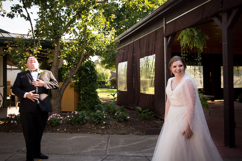 bride and groom first look moment Becker Farms Vizcarra Vineyards Gasport NY intimate wedding elopement