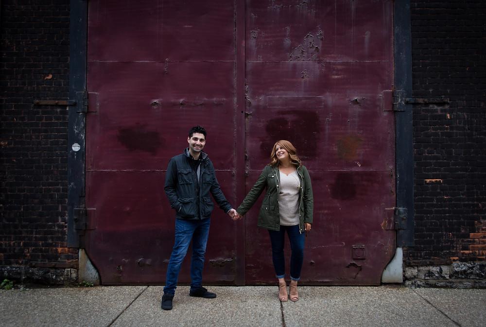 buffalo historic cobblestone district engagement photo shoot