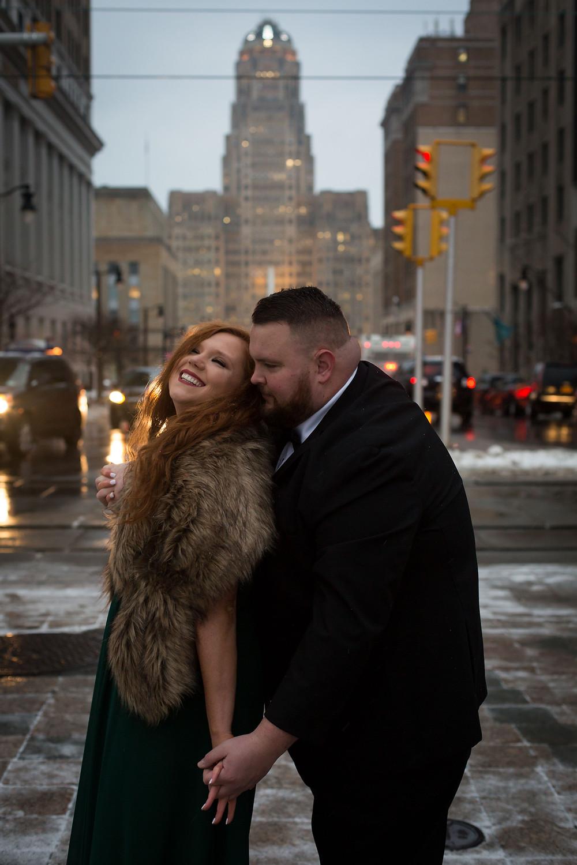 downtown Buffalo winter formal engagement photo shoot