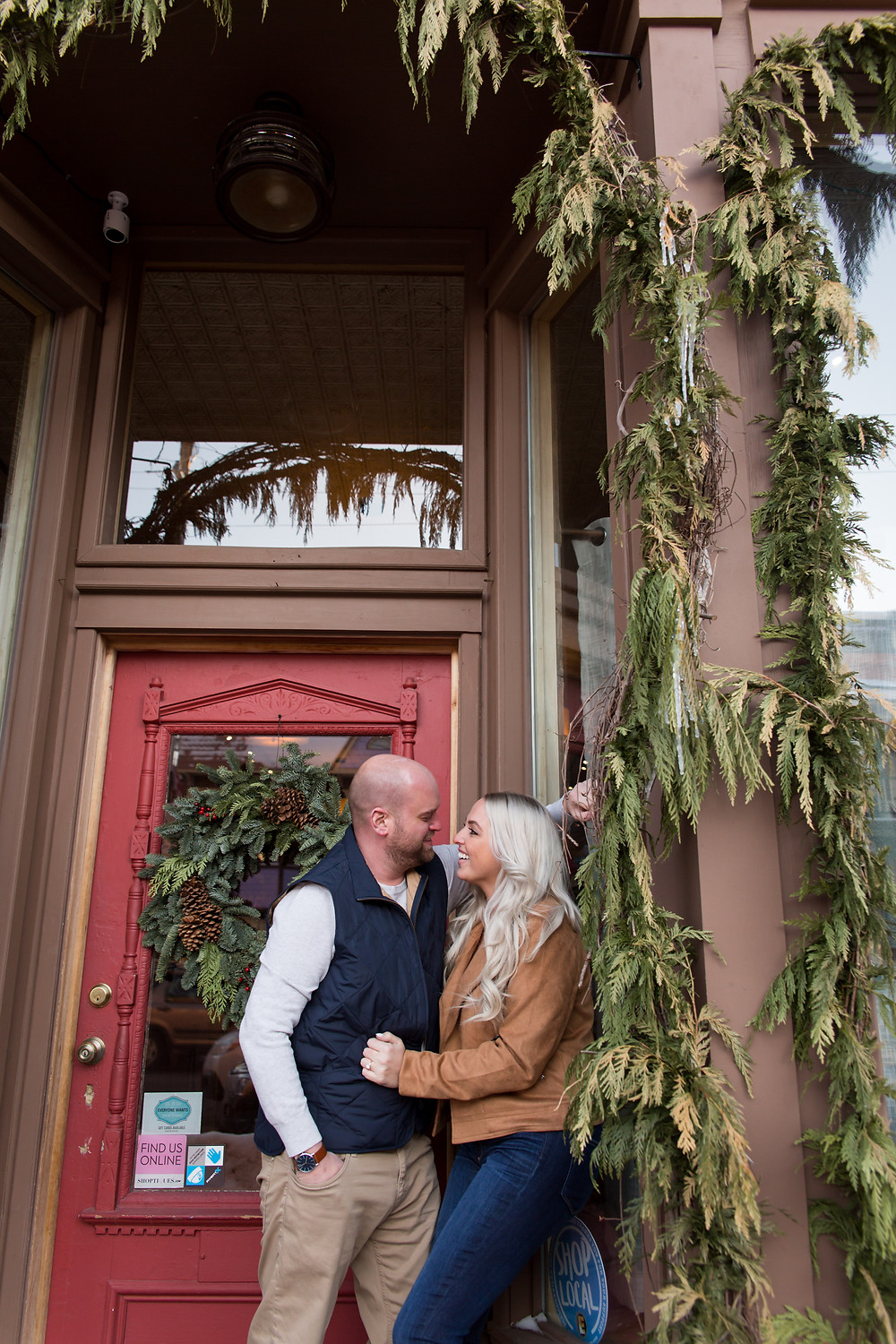 snowy winter engagement photo ellicottville ny