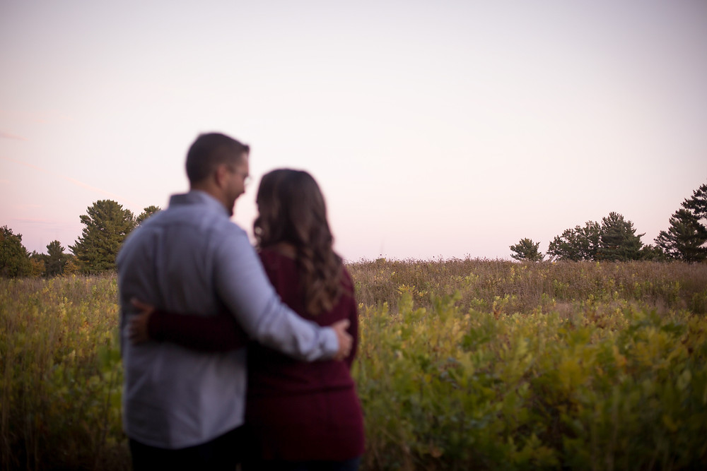 fall engagement session in western NY best spot Knox Farm East Aurora pink sky