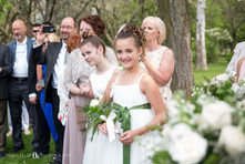 flower girls watching intimate wedding ceremony photo at Niagara Falls State Park NY USA