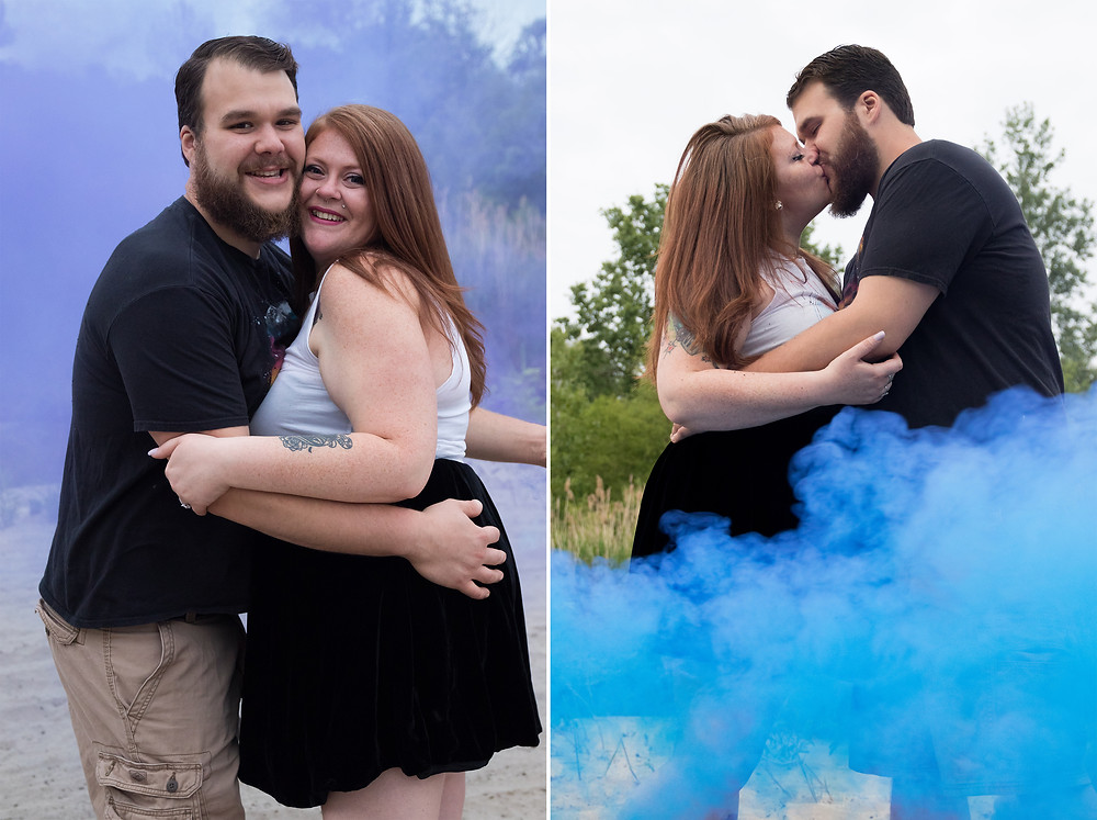 Woodlawn Beach Smoke Bomb Engagement Photography