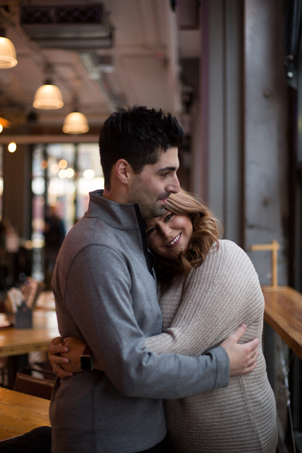 intimate cobblestone district Buffalo Labatt Brew House bar engagement session