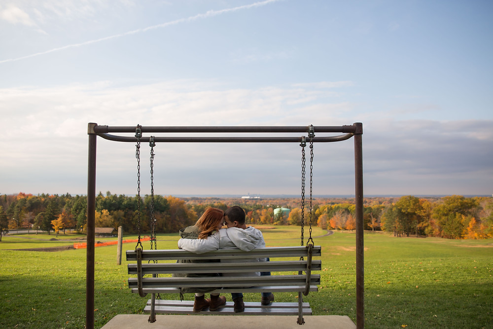 fall engagement couple shoot at overlook at Chestnut Ridge Orchard Park
