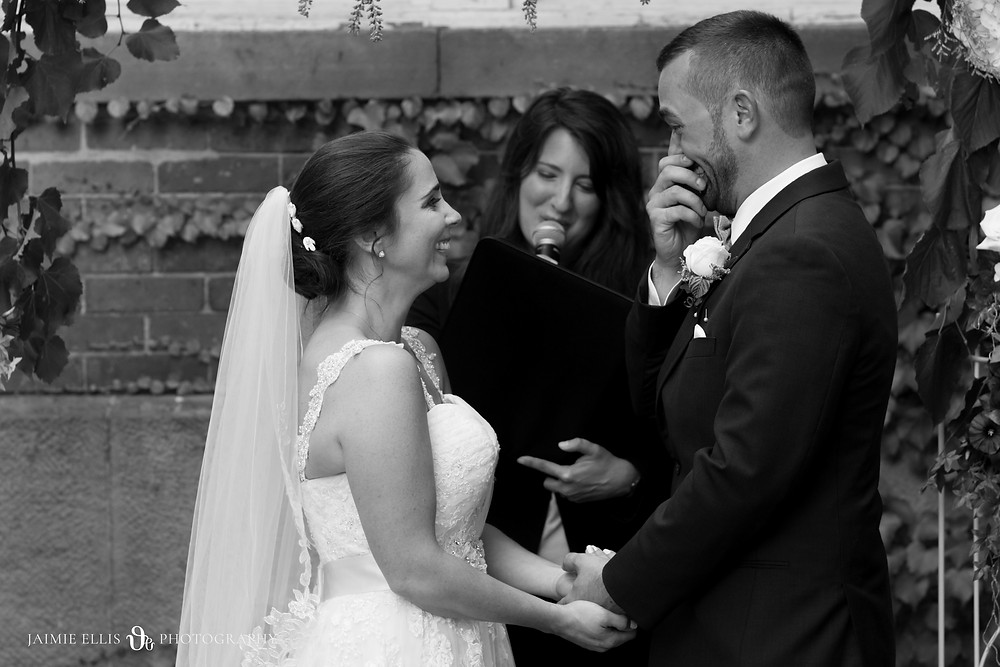 happy groom in tears during wedding ceremony at Mansion on Delaware Ave in Buffalo NY