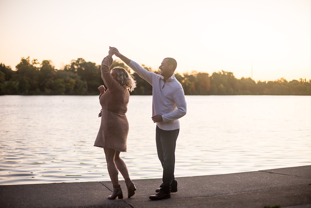 sunrise golden hour engagement photo Hoyt Lake Delaware Park Buffalo NY
