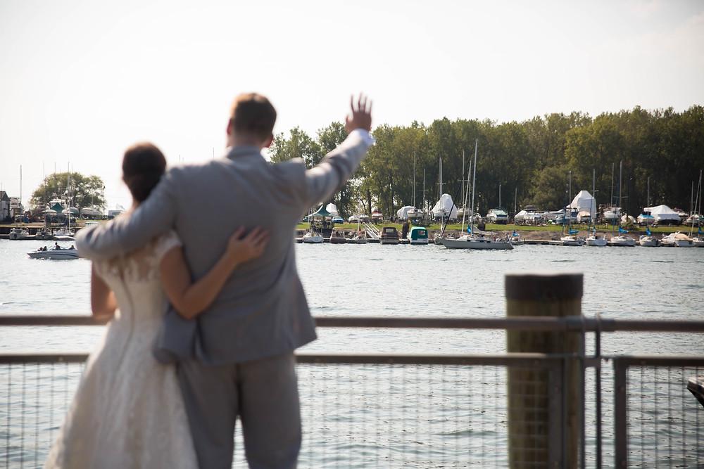 Buffalo Canalside bride and groom wedding photo summer outdoor venue