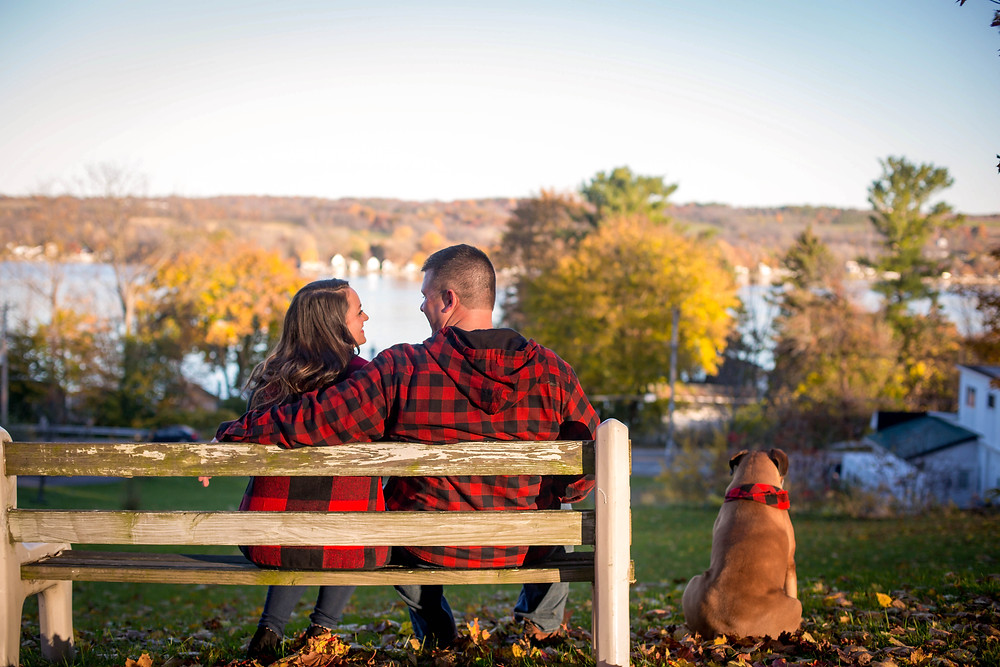 Geneseo NY fall golden hour finger lakes couples engagement candid photo