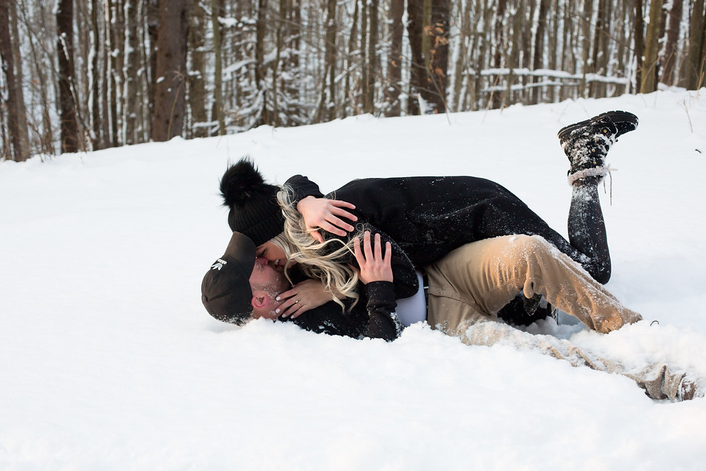 snowball fight winter couples engagement photo ellicottville ny