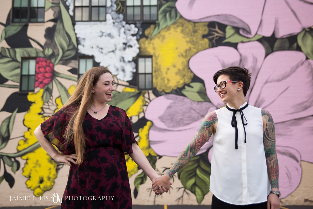 downtown buffalo wildflower mural lgbt same sex engagement photo