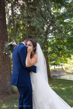 bride and groom's emotional first look at Forest Lawn Cemetery in Buffalo NY