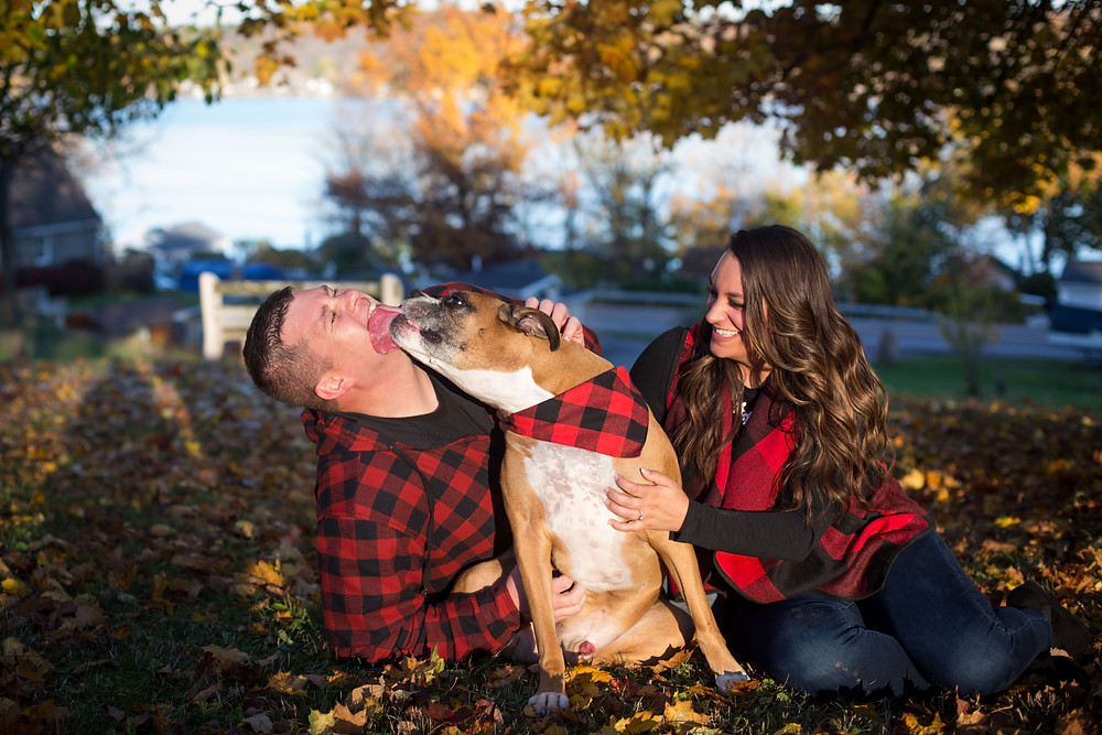 Geneseo Conesus Lake finger lakes fall engagement session with dog